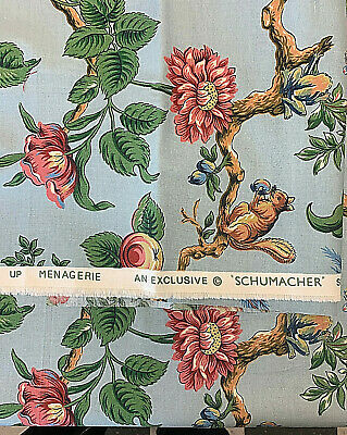 """Schumacher Upholstery Drapery Fabric Menagerie [Macaw floral] 48""""x28"""""""
