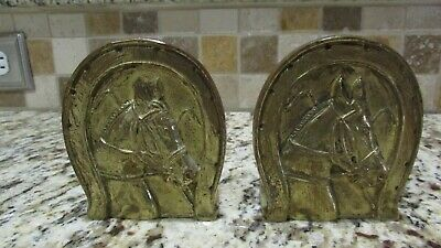 """Vintage Pair Horse Head Horseshoe Solid Brass Art Brass Co. N.y. 3.5"""" Book Ends"""