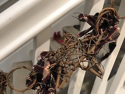 Handmade 7 Foot, Hand Tied Garland On Grapevine, Primitive Americana Country