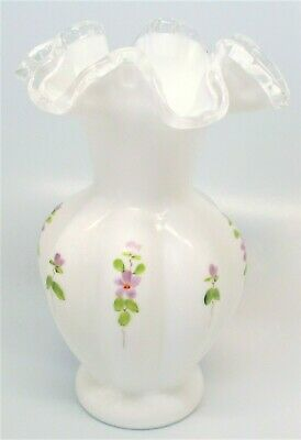 Fenton Hand Painted Violets Milk Glass Vase Crimped Ruffled Clear Edge Signed