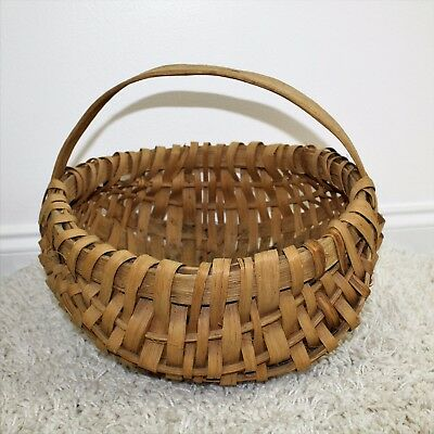 Vintage Primitive Southern Signed Splint Oak Farm Gathering Eggs Basket