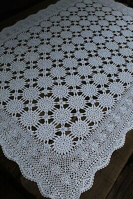 Vintage Delicate Hand Crochet Pure White Cotton Rectangular Tablecloth
