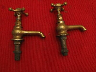 Antique Brass Hot Cold Water Faucets W Porcelain Tops Victorian