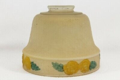 Vintage Frosted Glass Yellow Lamp Shade Hand Painted Embossed Floral Art Deco