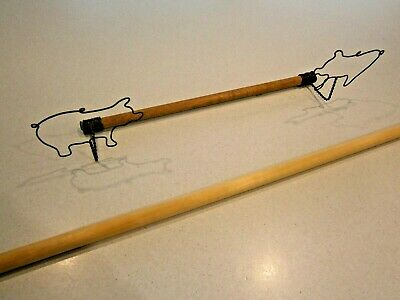 Quilt Hanger With Metal Pigs On Each End!  Includes Wooden Dowel & Bonus Dowel