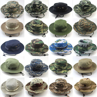 Bucket Hat Brim Hunting Fishing Outdoor Cap Wide Military Unisex Sun Camo Boonie