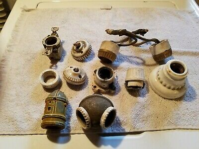 (11) Victorian/vintage/antique Porcelain Lamp Sockets/Rings. Various sizes. 1...