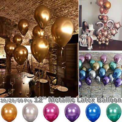 "100x Metallic Balloons Chrome Shiny Latex 12"" Thicken For Wedding Party Baby New"