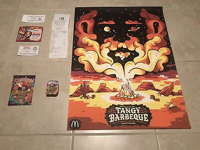 McDonalds Limited Edition Rick and Morty Szechuan Sauce And BBQ Poster W Receipt
