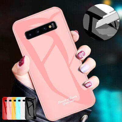 For Samsung S10 5G S10 Plus S9 S8 Note 9 Case Tempered Glass Back Slim TPU Cover