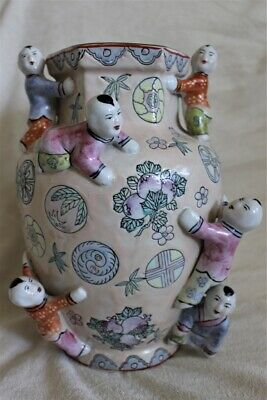 Vintage Chinese Fertility Vase with Flowers, Fruit & Climbing Children Boys