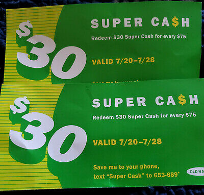 Lot of 2 Old Navy Super Cash Coupons $30 off $75 in Store or Online Purchase