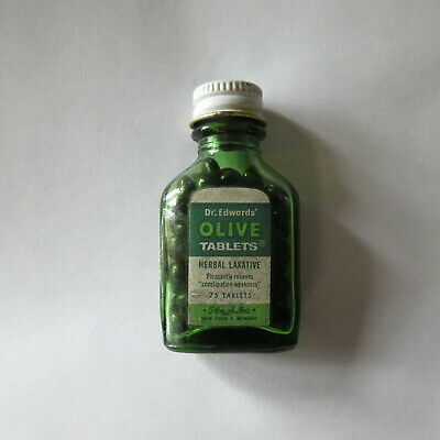 Dr Edwards Olive Tablets Herbal Laxitive Green Bottle full Plough, Inc.