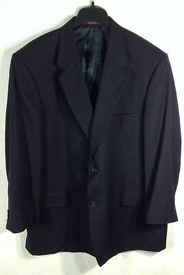 Evan PICONE VTG Men's Navy Blue Blazer Coat 100% Wool Jacket Size 48R
