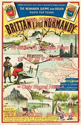 "BRITTANY AND NORMANDY 1890's France RAILWAY = TRAVEL POSTER 10 SIZES 18"" - 54"""