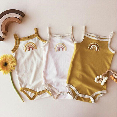 AU Infant Baby Girl Kid Rainbow Sling Jumpsuit Rompers Outfit Clothes 0-24M Tops