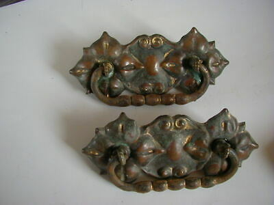 antique pair of 4 victorian drawer pulls 1870's brass back plate plated bail