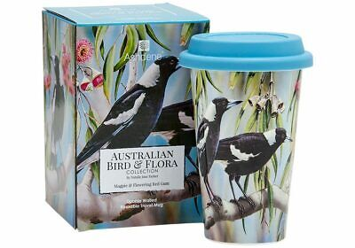Ashdene  Bird & Flora Magpie & Red Gum Doubled Walled Travel Mug.