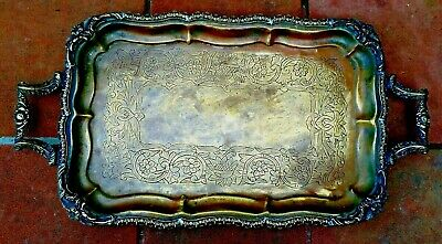 Antique Heavy Massive Brass Hand Made Sigend Tray  #486