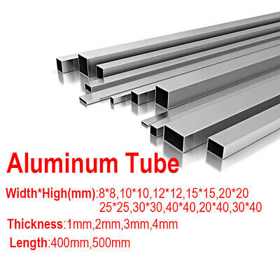 6063 Aluminum Square Tube Pipe Metal Material Tube 400 500mm Long 1 2 3mm Thick