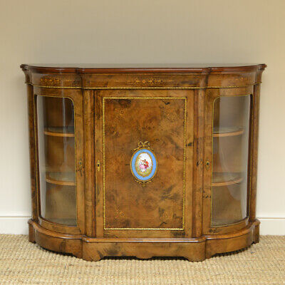 Beautifully Figured Victorian Walnut Antique Credenza