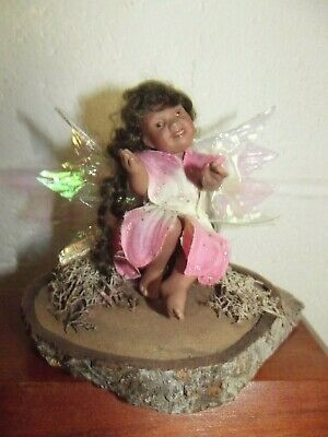 CUTE MINIATURE PORCELAIN FAIRY DOLL with REAL MOHAIR!