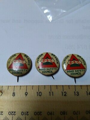 3 Tinnies Pins Badges RSC Road Safety Council Junior Branch WA West Australia
