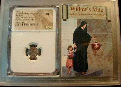 Widow's Mite Coin - Judaea 135-37 BC  NGC VF Condition- RARE in better Condition
