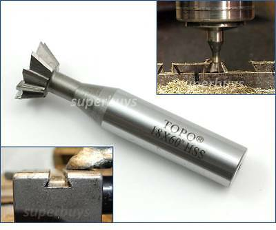18mm End Mill Dovetail Cutter 60 Degree HSS Flute Metalwork Cutting Endmill Tool