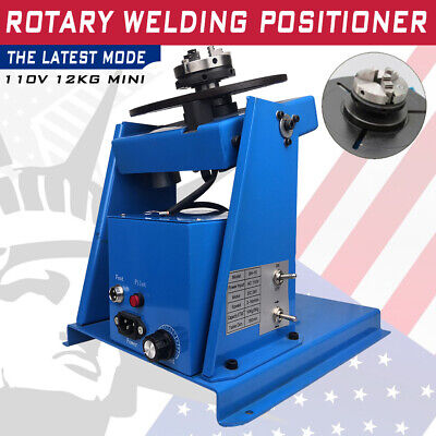 """Rotary Welding Positioner Turntable Table 2.5"""" 3 Jaw Lathe Chuck 2-20 RPM 10KG"""