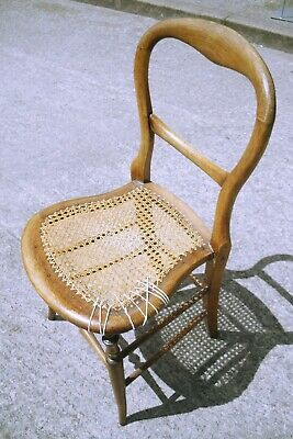 Vintage Wooden Childs Rattan Seat Chair Restoration Project (WH_8455)