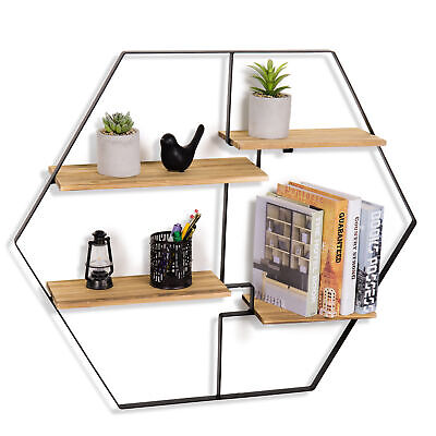 Wall-Mounted 4-Tier Burnt Wood Floating Shelves, Geometric Design Metal Frame