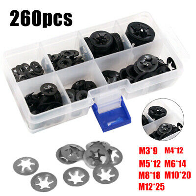 260pc Star Nut Metal Starlock Push-on Locking Washer Clips Fastener Assorted set