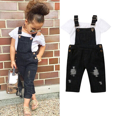 AU Toddler Kid Baby Girl T-Shirt Top Strap Jeans Pants Overall Outfit Clothes