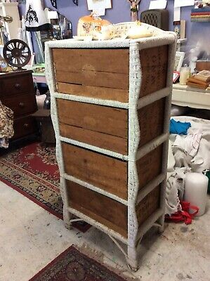 Vintage 1930s Depression Era Rustic Chest Of Drawers - Wicker & Packing Crates