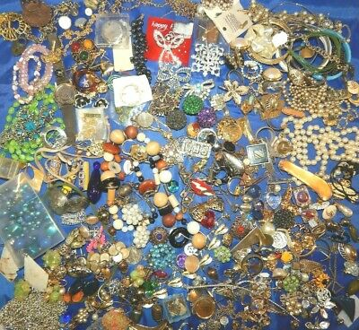 Large Lot of Mostly Vintage Harvest Scrap Craft Broken Junk Drawer Jewelry