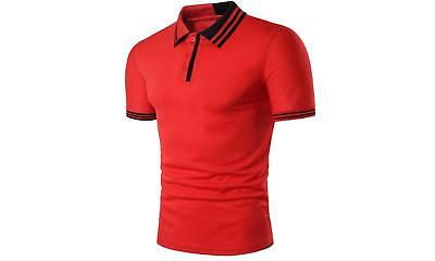 New Mens Slim Fit  Contrast Tipped Polo Shirt New T-shirt  Machine Washable-M