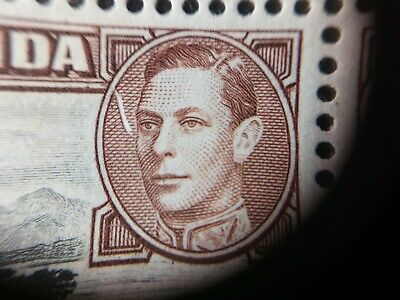 Error in oval of King's picture in unmounted block of 4 sg154b, one shilling