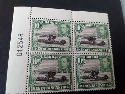 K.U.T KG6, sg135d,10cent black & green perf13x12.5 block of 4, sheet numbered