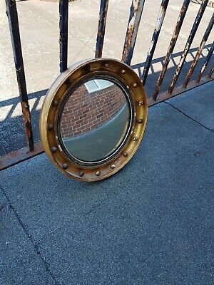 Antique Regency Period Round Convex Wall Mirror Gold Ball
