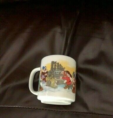 Vintage Disneyland Walt Disney World Snow White Seven Dwarfs Mug Cup Japan EUC