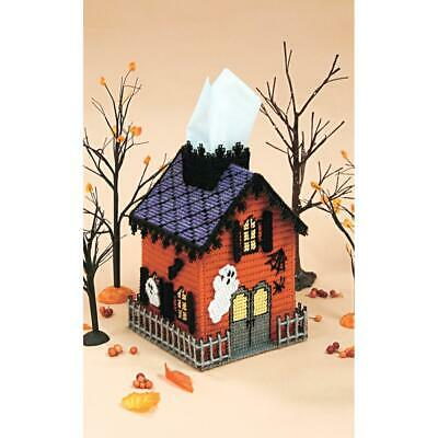 Mary Maxim PLASTIC CANVAS KIT HAUNTED HOUSE Halloween Tissue Box Cover 7 Count