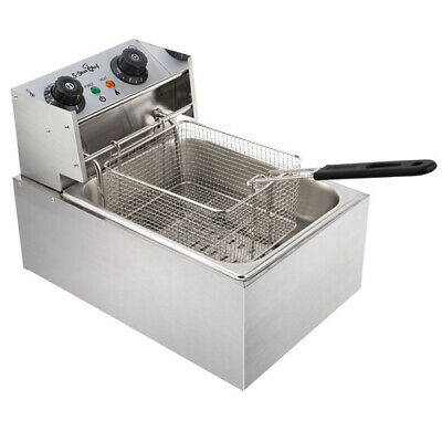 5 Star Chef Commercial Electric Single Deep Fryer Silver 10L Stainless Steel New