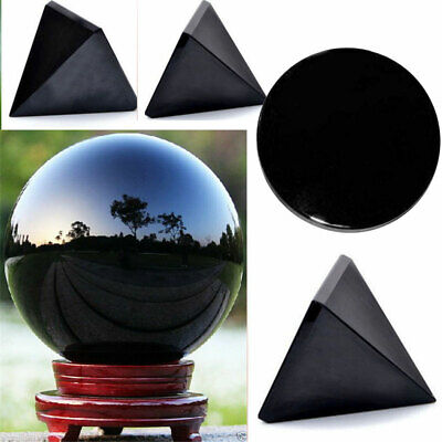 Natural Energy Black Obsidian Pyramid Crystal Healing Mirror Ball 60mm + Stand