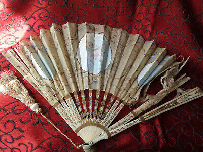 French Antique Handmade 19th Century Large Painted Hand Fan.