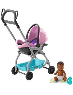 Barbie Skipper Babysitter Baby Doll PINK Stroller Removable Seat Playset BNIB