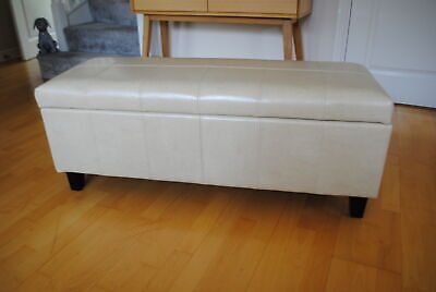 NEW Genuine Leather CREAM Ottoman Bedding Box Storage Footstool Pouffe *SECONDS*