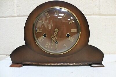 Vintage Smiths Westminster Chiming Mantel Clock with Key and Pendulum - 250