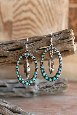 925 Silver Turquoise Ear Hook Dangle Drop Leaf Earrings Fashion Women Jewelry