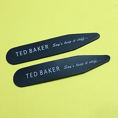 Mens TED BAKER Black White Shirt Collar Stiffeners 50mm Stays Bones Gift Ideas